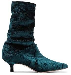 Tibi Harper Crushed-Velvet Sock Boots