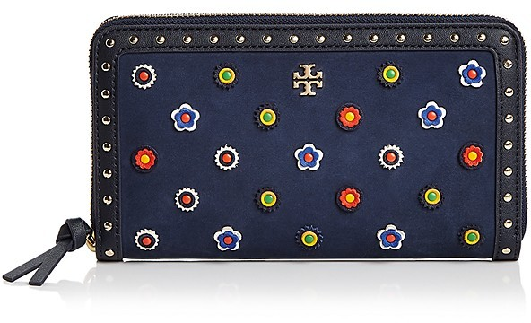 Tory Burch Tory Burch Marguerite Zip Embellished Suede Continental Wallet