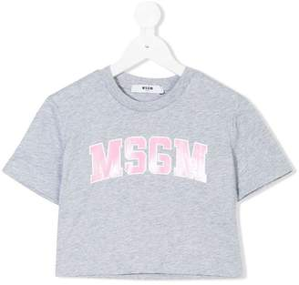 MSGM logo print cropped T-shirt