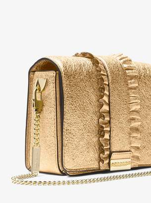 MICHAEL Michael Kors Jade Ruffled Metallic Leather Clutch