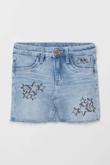 H&M - Printed Denim Skirt - Blue