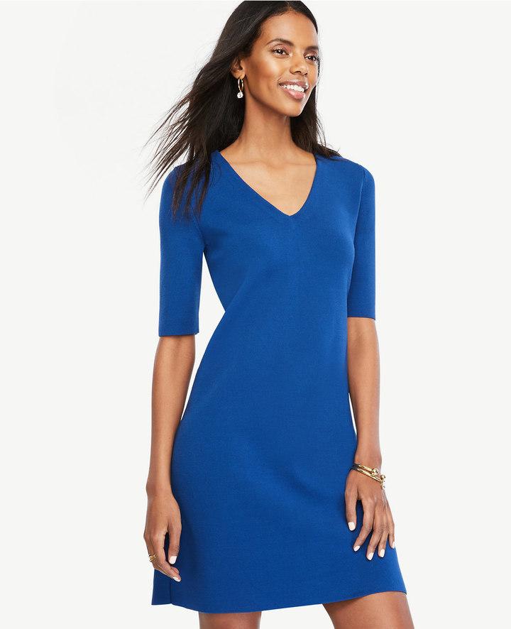 Ann TaylorPetite V-Neck Sweater Dress