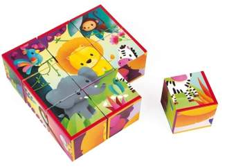 Janod Jungle Animals Cubes - Set of 9 Cubes