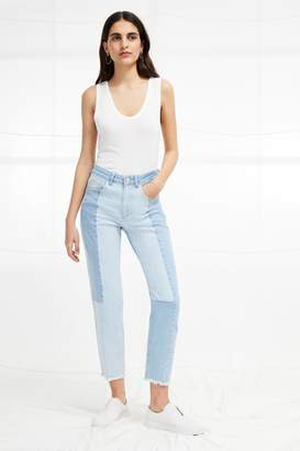 French Connection Bleach Block Denim High Rise Straight Jeans