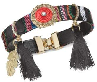 INC International Concepts I.N.C. Gold-Tone Cotton Thread & Tassel PVC Strap Friendship Bracelet, Created for Macy's