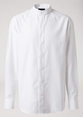 Emporio Armani Jacquard Cotton Shirt With Mandarin Collar