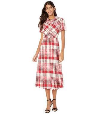 Escada Cotton/Linen Raw Edge Plaid V-Neck Dress