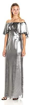 ABS by Allen Schwartz Women's Off Shoulder Gown in Lame