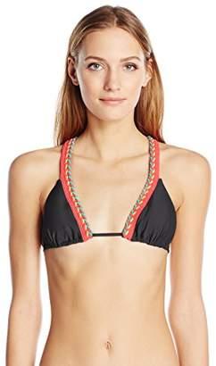 Luli Fama Women's Atrevida Multicolor Crochet Triangle Bikini Top