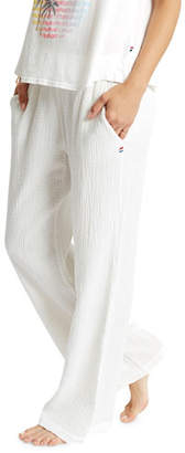 Sol Angeles Wide-Leg Textured Crepe Pull-On Pants