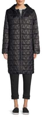 Eileen Fisher Quilted Hooded Coat