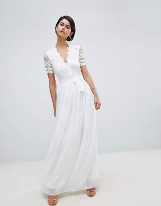 Club L Short Sleeve Crochet Lace Maxi Dress With V Neck