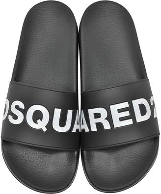 DSQUARED2 Black Signture Men's Flip Flop Pool Sandals