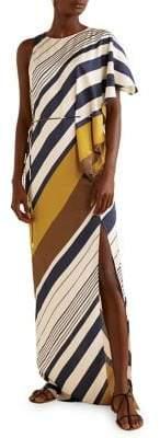 MANGO Striped Asymmetrical Maxi Dress