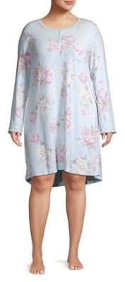 Miss Elaine Plus Long Sleeve Floral Nightgown