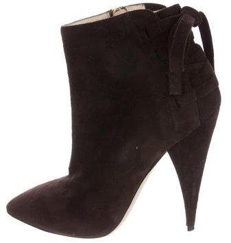 Miu MiuMiu Miu Pointed-Toe Suede Ankle Boots