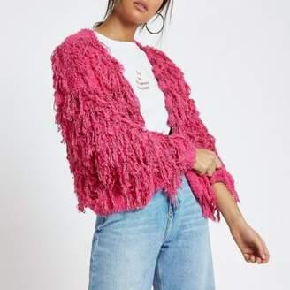 River Island Womens Pink stripe trophy knit cardigan