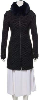 Zac Posen Fur-Accented Knee-Length Coat w/ Tags