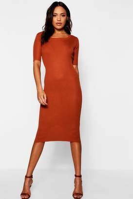 boohoo Ribbed Knit Midi Dress With Scoop Neck