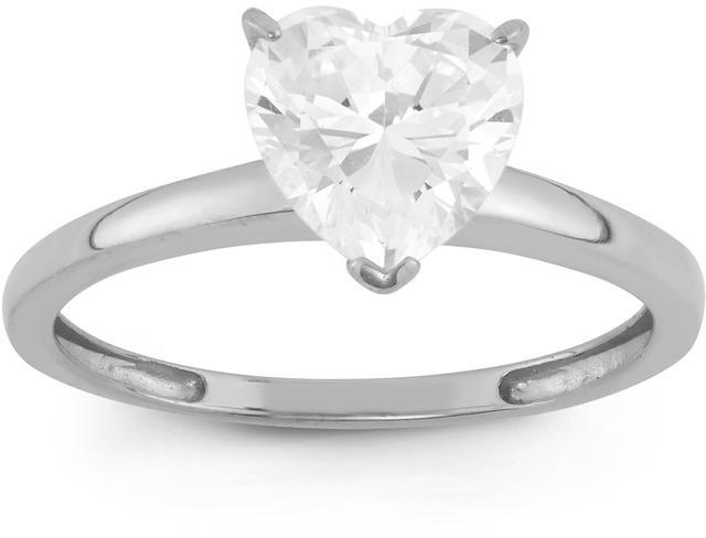 Tiara 1 5/7 CT Cubic Zirconia 10K White Gold Heart Cut Solitaire Promise Ring
