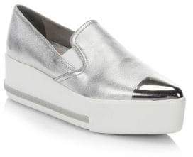 Miu Miu Metallic Leather Slip-On Sneakers