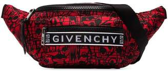 Givenchy black and red graphic belt bag