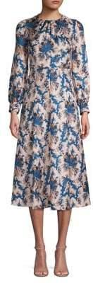 Sandro Carna Silk Long Sleeve Midi Dress