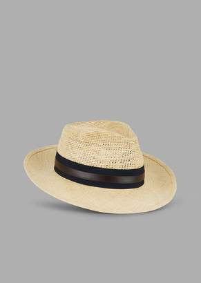 7cac1daa326 Giorgio Armani Fedora Hat In Natural Straw With Leather Band