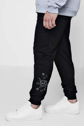 boohoo Big And Tall Rose Embroidered Jogger
