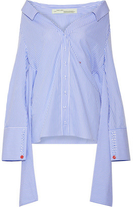 Off-White - Off-the-shoulder Striped Cotton-poplin Shirt - Light blue $665 thestylecure.com