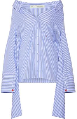 Off-White - Off-the-shoulder Striped Cotton-poplin Shirt - Light blue $665 thestylecure.com