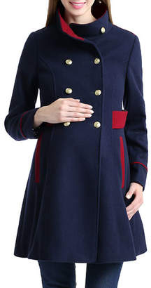 Kimi + Kai Maternity Pan Funnel-Neck Double-Breasted Peacoat