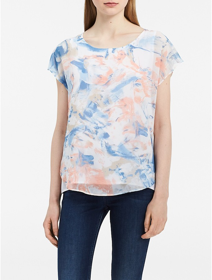 Calvin Klein Floral Layered Short Sleeve Top
