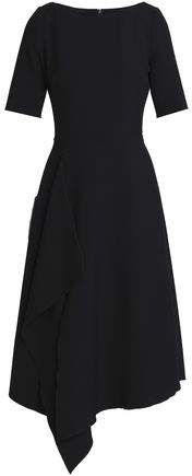 Draped Stretch-Ponte Dress