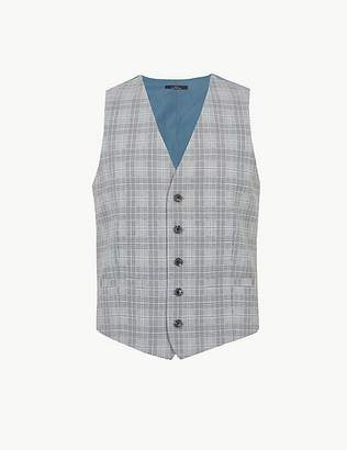 Marks and Spencer Grey Checked Skinny Fit Waistcoat