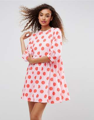 ASOS Polka Dot Smock Dress With Elastic Cuff Detail $45 thestylecure.com