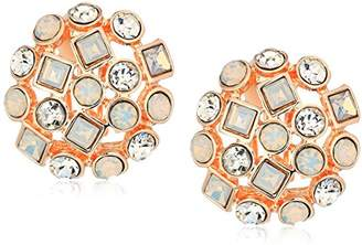 T Tahari Womens Pastel Party Stone Dome Button Clip On Earrings