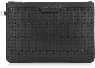 Jimmy Choo DEREK Black Leather Document Holder with Mixed Stars