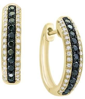 Bloomingdale's Black & White Diamond Hoop Earrings in 14K Yellow Gold - 100% Exclusive
