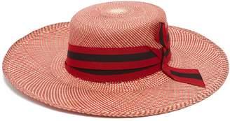 Sensi STUDIO Trinado ribbon-trim straw boater hat
