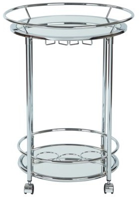 Office Star OSP Designs by Products OSP Designs Royse Serving Cart, Chrome