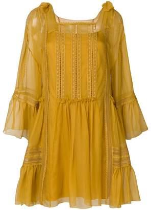 Alberta Ferretti ruched and crochet detailed dress