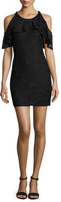 Ella Moss Cold-Shoulder Lace Mini Dress, Black $238 thestylecure.com