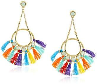 Rebecca Minkoff Utopia Tassel Chandeliers Milky White Stones with Black Tassels Drop Earrings