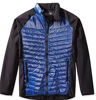 The Plus Project Men's Plus Size Puffer Jacket with Contrast Sleeves 4X-Large Navy/Black