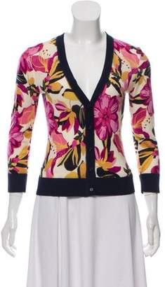 Tory Burch Wool Floral Print Cardigan