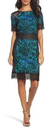 Women's Tadashi Shoji Illusion Lace & Embroidered Mesh Sheath Dress $388 thestylecure.com