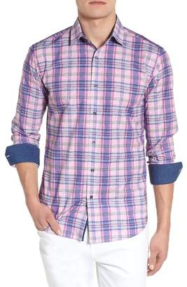 Bugatchi Summer Plaid Shaped Fit Sport Shirt