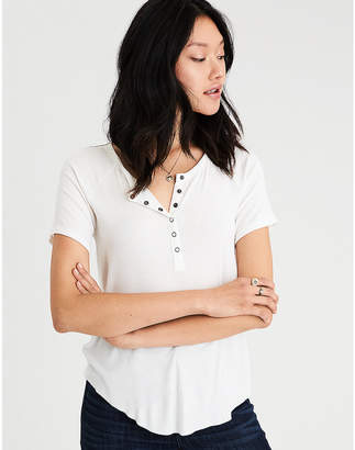 American Eagle AE Soft & Sexy Henley Snap Front T-Shirt