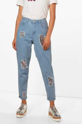 boohoo Molly Sequin Boyfriend Jeans
